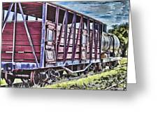 Vintage Steam Locomotive Carriages Greeting Card