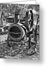 Vintage Steam Tractor Black And White Greeting Card