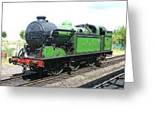 Vintage Steam Train In Green  Greeting Card