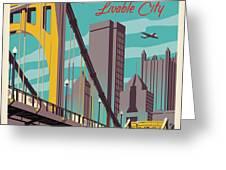 Pittsburgh Poster - Vintage Travel Bridges Greeting Card by Jim Zahniser