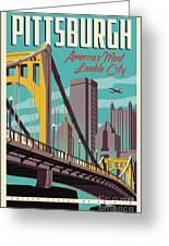 Pittsburgh Poster - Vintage Travel Bridges Greeting Card