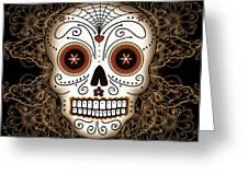 Vintage Sugar Skull Greeting Card by Tammy Wetzel