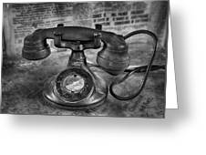 Vintage Telephone In Black And White  Greeting Card