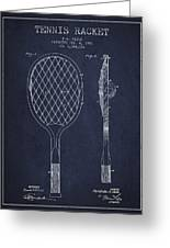 Vintage Tennnis Racket Patent Drawing From 1921 - Navy Blue Greeting Card