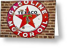 Vintage Texaco Gasoline Sign Dsc07195 Greeting Card