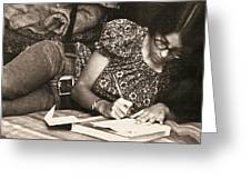 Vintage Young Woman Writing  Greeting Card