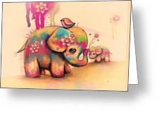 Vintage Tie Dye Elephants Greeting Card by Karin Taylor