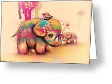 Vintage Tie Dye Elephants Greeting Card