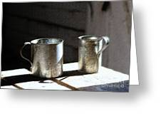 Vintage Tin Cups Greeting Card
