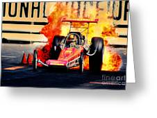Vintage Top Fuel Dragster Fire Burnout-wild Bill Carter Greeting Card