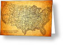 Vintage United States Highway System Map On Worn Canvas Greeting Card