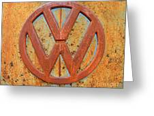Vintage Volkswagen Bus Logo Greeting Card