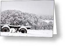 Vintage Wagon In Snow And Fog Filled Valley Greeting Card