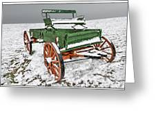 Vintage Wagon In The Snow E98 Greeting Card