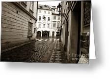 Vintage Walk In Prague Greeting Card by John Rizzuto