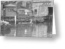 Vintage Waterfront Scene Greeting Card