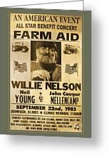 Vintage Willie Nelson 1985 Farm Aid Poster Greeting Card