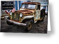 Vintage Willy's Jeep Pickup Truck Greeting Card