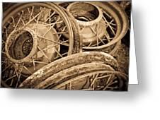 Vintage Wire Wheels Greeting Card