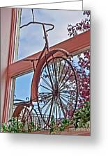 Vintage Wrought Iron Bike In Window Art Prints Greeting Card