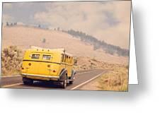 Vintage Yellowstone Bus Greeting Card
