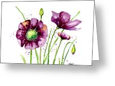 Violet Poppies Greeting Card