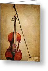 Violin With Bow Greeting Card