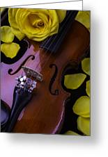 Violin With Yellow Rose Greeting Card