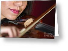Violonist Greeting Card by Andre Babiak