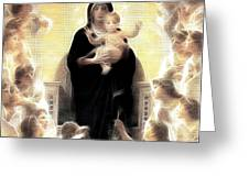 Virgin And Child Fractalius Greeting Card