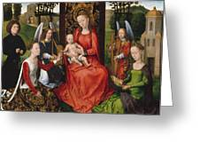 Virgin And Child With Saints Catherine Of Alexandria And Barbara Greeting Card
