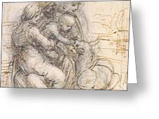 Virgin And Child With St. Anne Greeting Card by Leonardo da Vinci
