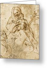 Virgin And Child With Saint Francis Greeting Card