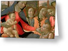 Virgin And Child With St John The Baptist And The Three Archangels Greeting Card