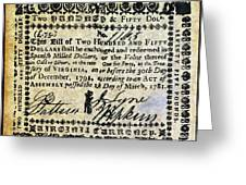 Virginia Banknote, 1781 Greeting Card