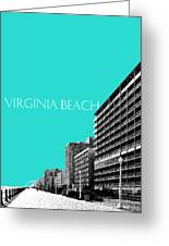 Virginia Beach Skyline Boardwalk  - Aqua Greeting Card