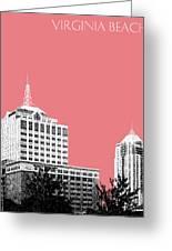 Virginia Beach Skyline - Light Red Greeting Card