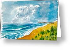 Virginia Beach With Pier Greeting Card