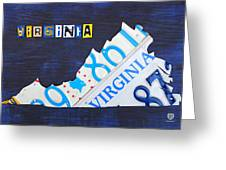 Virginia License Plate Map Art Greeting Card