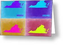 Virginia Pop Art Map 2 Greeting Card