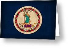 Virginia State Flag Art On Worn Canvas Greeting Card