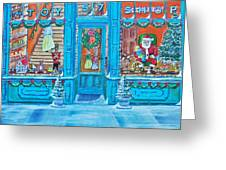 Visit To The Toy Shop Santa Greeting Card