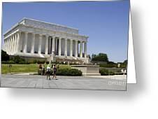 Visitors At The Lincoln Memorial Greeting Card