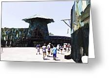 Visitors Heading Towards The Waterworld Attraction At Universal Studios Greeting Card