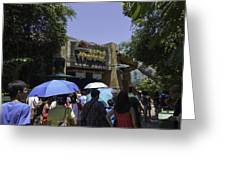 Visitors Thronging The Jurassic Park Rapids Adventure Ride Greeting Card