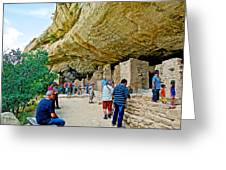 Visitors To Spruce Tree House On Chapin Mesa In Mesa Verde National Park-colorado Greeting Card