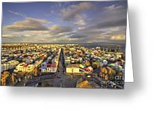 Vista Of Reykjavik  Greeting Card