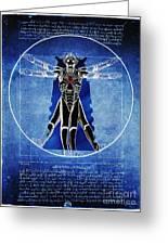Vitruvian Cyberman In Deep Space  Greeting Card