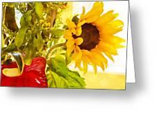Vivid Cheery Sunflower Bouquet Greeting Card