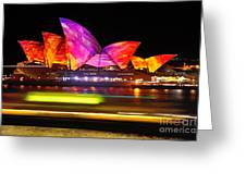 Vivid Sydney By Kaye Menner - Opera House ... Triangles Greeting Card